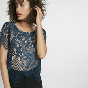 Express | Blue All Over Lace Crop Tee XS